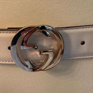 Gucci Accessories - Gucci - Ivory Leather Belt Gold GG Buckle